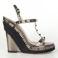 60822 auth VALENTINO gunmetal metallic ROCKSTUD Wedge Sandals Shoes 38