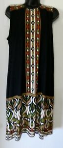 Sandra Darren Ladies Sleeveless Sheath Dress Black Multi Color Geometric Size 14