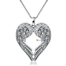 Fashion Jewelry Women Angel Wing LOVE Heart Silver Pendant Necklace Gift HOT MTC