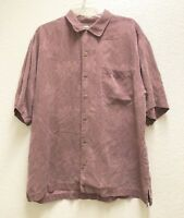 Tommy Bahama Mens L Shirt Hawaiian Camp 100% Silk Embossed Floral Red