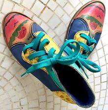 Artisan Handmade Leather Sneakers Lace-up Custom Painted, Rubber Soles 1970s-80s