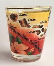 Hawaiian Islands Map 50th State Shot Glasses Hawaii Souvenir Sunset Gold Rim NIB