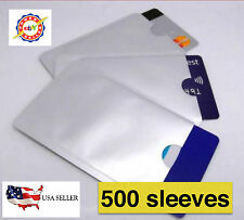 500 PACK HIGH LEVEL RFID Blocking Credit Card Sleeve Protector Shield WaterProof