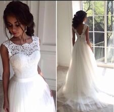 UK Plus Size White/Ivory Lace Wedding Dress Bridal Gown Size 6-26