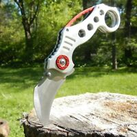 TAC FORCE SILVER RED TACTICAL RESCUE KARAMBIT CLAW Spring Assisted Opening Knife