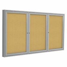 "Ghent Pa33672K Enclosed Cork Bulletin Board 36x72"", 3 Door"