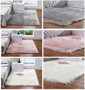 Faux Fur Sheepskin Rug Fluffy Mat Pad Room Sofa Bed Hairy Shaggy Floor Carpet US