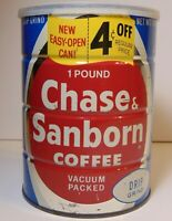 Old Vintage 1960s CHASE & SANBORN COFFEE GRAPHIC 1 POUND TIN TALL NEW YORK USA