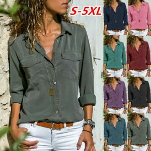 UK Womens Pure Buttons Ladies Blouse Work Loose Plain Long Sleeve Pockets Tops