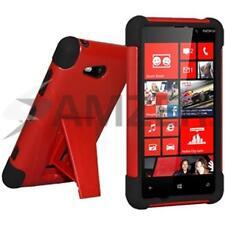 Amzer Double Layer Hybrid Hard Case + Kickstand For Nokia Lumia 820 - Black/ Red