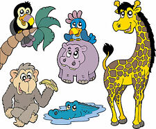 stickers enfant Animaux de la jungle 30x38cm réf 3101