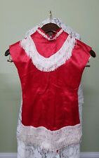 1950s Dance Curtain Call Costume Red  White Fringe One Piece Size Small