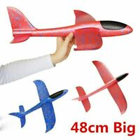 "Large Foam Glider Stunt Plane Kids Easy Build 19"" Hand Thrown Airplane Outdoor"