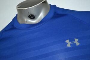 21242-a Mens Under Armour Gym Shirt Size Medium Blue Polyester
