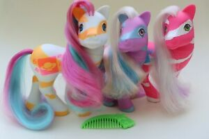 My Little Pony G1 Colorswirl Ponies Full Set Lovebeam Star Swirl Springy Comb