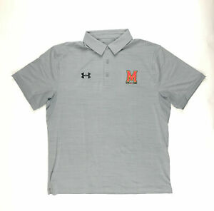 Under Armour Maryland Terrapins Elevated Polo Men's Large 1305791 Gray