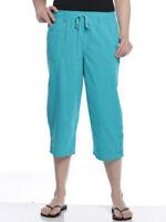Erika Womens Carey Tab Hem GDS Cotton Drawstring Pull-On Capri Pants - 10 Colors
