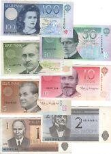 ESTONIA Set 1, 2, 5, 10, 25, 50, 100 Kroon VF-aUNC Banknotes (1991-1994) P-69-79