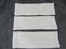 Three Antique Pure Linen Napkin Case White Work Embroidery  3