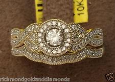 Yellow Gold Halo Antique Vintage Style Round Diamond Wedding Bridal Set Ring BND