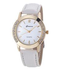Reloj de Pulsera Diamante de Imitación Cuero Geneva de Mujer Hombre Analógico De Cuarzo Blanco Reino Unido la venta £ £