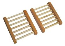 2 Pack of Natural Wood Soap Tray Wooden Holder Dish for Shower and Bathroom