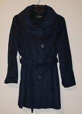 NWT Ellen Tracy  Parisian Blue Wool Blend Belted Ruched Collar  Coat sz 14