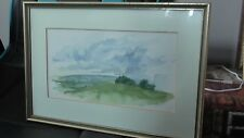 Original Art Watercolour Painting landscape hill signed by artist framed rare