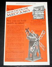 1926 OLD MAGAZINE PRINT AD, MECCANO MULTICOLOR, NOW YOU CAN BUILD MODELS COLORS!