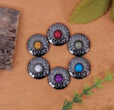 6X Turquoise Bead Charm Gun Silver Sun Flower Leather Wallet Western Conchos