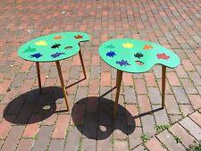 Vintage Pair 1950s Artist's Palette Side End Tables