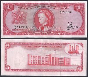 TRINIDAD & TOBAGO $1 Dollar 1964, P-26c QEII, Queen Elizabeth, Almost Unc AU.