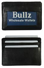 New Genuine Leather Black Thin Slim ID Credit Card Holder-Case Mens Wallet.