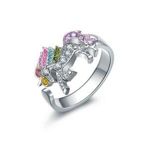 Fashionable Ring For Girls Animal Unicorn Rhinestones