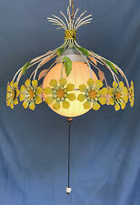 Vintage Tole Shabby Ceiling Swag Light Chanderlier Yellow Sunflowers-Daisies