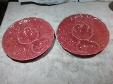 Dick Knox California Pottery Coral Floral Artichoke Appetizer Plates Set of 2