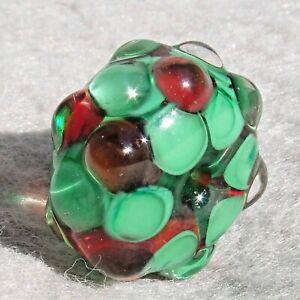 HO-HO Handmade Art Glass Focal Bead Flaming Fools Lampwork Art Glass SRA