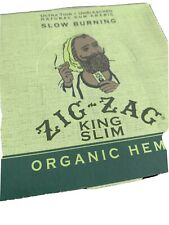 "Zig Zag Organic Hemp ""King Slim"" Ultra -Thin Rolling Papers 24 Booklets Unopened"
