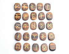 Natural Tiger Eye Palm Stones Engraved Pagan Lettering Wiccan Rune Stones Set