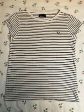 Fred Perry White Black Pin Striped T Shirt Size 8 / 10