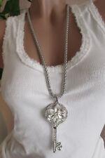 Damen Halskette  Schlüssel Strass Silber Kette  Anhänger NICKELFREI