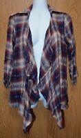 Womens Plaid & Lace American Rag Cie 3/4 Sleeve Shirt Jacket Size XXS NWT NEW