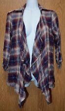 Womens Plaid & Lace American Rag Cie 3/4 Sleeve Shirt Jacket Size XXS NWT NEW