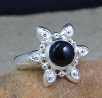 925 Sterling Silver Black Onyx Gemstone Designer Handmade Party Wear Ring KR1128