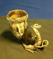 """Drinking Horn With """"Fierce"""" Dragon Stand ,Unique One Of A Kind !"""