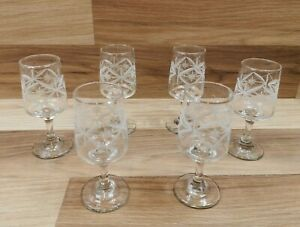 6 x Vintage Dema Chesterfield Star Decorated Sherry Glasses