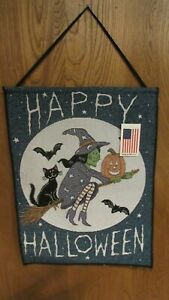 Happy Halloween Witch pumpkin Cat and  Bat Tapestry Bannerette Wall Hanging new