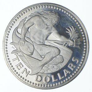 SILVER - HUGE - 1973 Barbados 10 Dollars - World Silver Coin *402