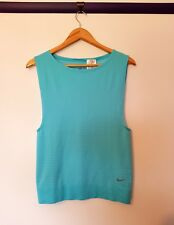 Nike dri fit womens size S light blue striped spotted short sleeve tank top