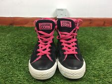 Converse Size 5.5 Black Suede Leather High Top Trainers Pink Lace Ups